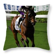 Jockey In Purple And White Riding Racehorse Throw Pillow