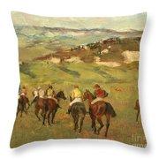 Jockeys On Horseback Before Distant Hills Throw Pillow by Edgar Degas