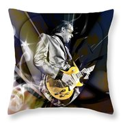 Joe Bonamassa Blue Guitarist Art Throw Pillow
