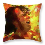 Joe Cocker Colorful Palette Knife Throw Pillow