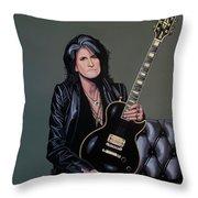 Joe Perry Of Aerosmith Painting Throw Pillow