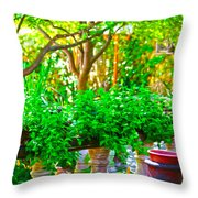 Joe T Garcias Gardens Throw Pillow