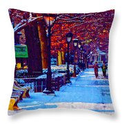 Jogging In The Snow Along Boathouse Row Throw Pillow