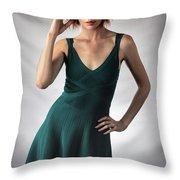 Johanne In Green Throw Pillow