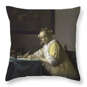 Johannes Vermeer A Lady Writing C.  Painting Throw Pillow