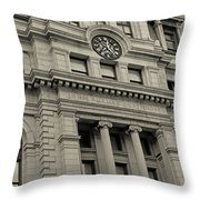 John Adams Courthouse Boston Ma Black And White Throw Pillow