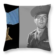 John Basilone And The Medal Of Honor Throw Pillow