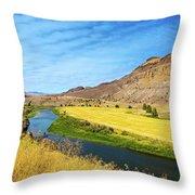 John Day River Panoramic View Throw Pillow