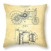 John Deere Tractor Patent Drawing From 1934 - Vintage Throw Pillow