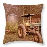 John Deere Antique Throw Pillow by Debra and Dave Vanderlaan