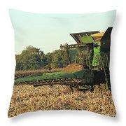 John Deere Combine Throw Pillow