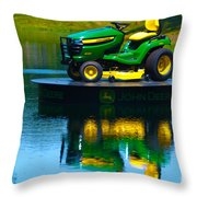 John Deere Mows The Water No 1 Throw Pillow