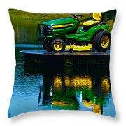 John Deere Mows The Water No 2 Throw Pillow