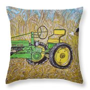 John Deere Tractor And The Scarecrow Throw Pillow