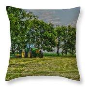 John Deere Tractor At Dusk Throw Pillow