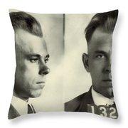 John Dillinger Mugshot Throw Pillow