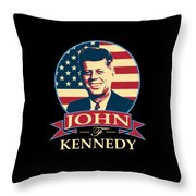 John F Kennedy American Banner Pop Art Throw Pillow