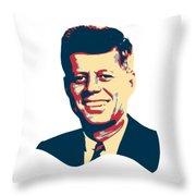 John F Kennedy Color Pop Art Throw Pillow