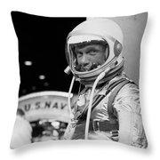 John Glenn Wearing A Space Suit Throw Pillow