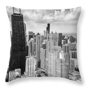John Hancock Building In The Gold Coast Black And White Throw Pillow