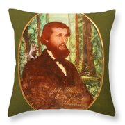 John Muir With A Chipmunk On His Shoulder Throw Pillow
