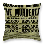 John Wilkes Booth Wanted Poster Throw Pillow