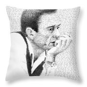 Johnny Cash God's Gonna Cut You Down Throw Pillow