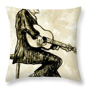Johnny Cash II Throw Pillow