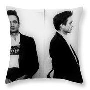 Johnny Cash Mug Shot Horizontal Throw Pillow