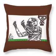 Johnny Manziel 10 Change The Play Throw Pillow by Jeremiah Colley