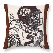 Johnny Manziel 5 Throw Pillow by Jeremiah Colley