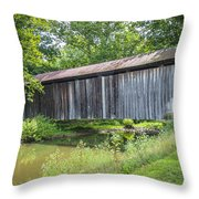 Johnson's Mill/salt Creek Covered Bridge  Throw Pillow