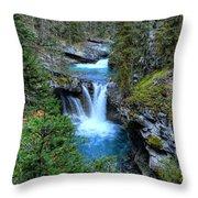 Johnston Canyon Falls Hike Lower Falls Throw Pillow