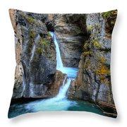 Johnston Canyon Falls Hike Upper Falls II Throw Pillow