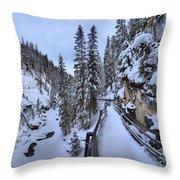 Johnston Canyon Winter Boardwalk Throw Pillow