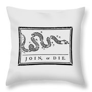 Join Or Die Throw Pillow by War Is Hell Store