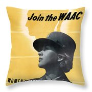 Join The Waac - Women's Army Auxiliary Corps Throw Pillow by War Is Hell Store