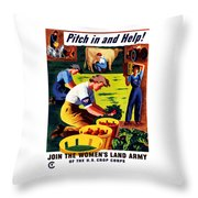 Join The Women's Land Army Throw Pillow