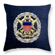 Joint Chiefs Of Staff - J C S Identification Badge On Blue Velvet Throw Pillow