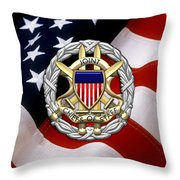 Joint Chiefs Of Staff - J C S Identification Badge Over U. S. Flag Throw Pillow
