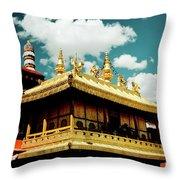 Jokhang Temple Fragment  Lhasa Tibet Artmif.lv Throw Pillow