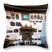 Jokhang Temple Wall Lhasa Tibet Artmif.lv Throw Pillow
