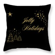 Jolly Holidays Gold Sparkle Throw Pillow