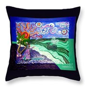 Jonah And The Whale Throw Pillow by Genevieve Esson