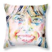 Joni Mitchell - Watercolor Portrait Throw Pillow
