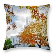Jordan River Temple Throw Pillow by La Rae  Roberts