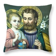 Joseph And Baby Jesus Throw Pillow