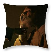 Joseph And The Angel Throw Pillow by Georges de la Tour