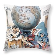 Joseph Pulitzer Cartoon Throw Pillow