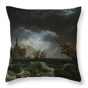 Joseph Vernet   A Shipwreck In Stormy Seas Throw Pillow